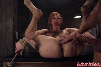 BDSM sub tit fucks doms cock before anal sex