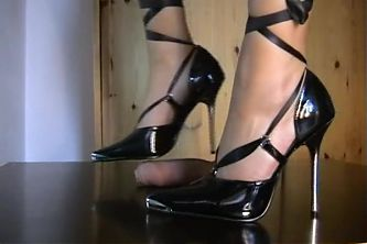 shoejob with black stiletto